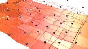 Низкая поли поверхность 3D с решеткой или сеткой летания и черные сферы как футуристическая окружающая среда Мягкое геометрическо иллюстрация вектора