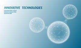 Низкая поли структура 3D молекулы воды представляет концепцию Искусство технологии полигонального исследования науки экологическо иллюстрация штока