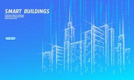 Низкая поли умная ячеистая сеть города 3D Умная концепция дела системы автоматизации здания Компьютер сети онлайн иллюстрация вектора