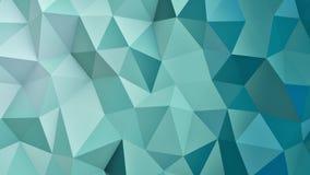 Низкая поли геометрическая cyan поверхность 3D представляет Стоковые Изображения