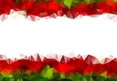 Низкая поли рамка рождества цветков красных и зеленых Стоковая Фотография