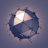 Низкая поли сфера металла с хаотической структурой Стоковые Фото