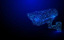 Низкая сетка wireframe камеры слежения CCTV полигона на голубом backgroud иллюстрация вектора