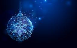 Низкая сетка wireframe шарика рождества полигона на синей предпосылке иллюстрация вектора
