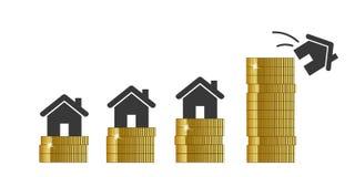 Низкие и высокие дома цен свойства и золотые монетки иллюстрация вектора