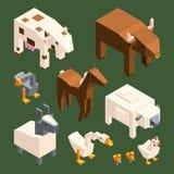 низкие поли животные 3D Изолят животноводческих ферм вектора равновеликий бесплатная иллюстрация