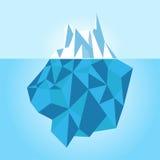 Низкий поли айсберг изолированный на белой предпосылке также вектор иллюстрации притяжки corel Стоковые Фото