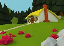 Низкий поли дом стоит на glade Стоковое фото RF