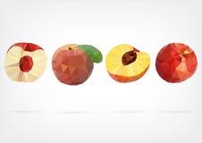 Низкий поли плодоовощ персика Стоковое фото RF