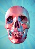 Низкий поли розовый череп на предпосылке бирюзы Стоковое Изображение