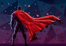 Низкий поли супергерой иллюстрация штока