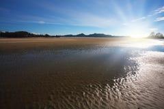 низкий прилив захода солнца Стоковое Изображение RF