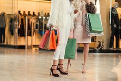 низкий раздел модных многонациональных женщин в меховых шыбах держа бумажные сумки и ходя по магазинам совместно в моле Стоковое фото RF