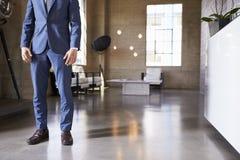 Низкий раздел человека в костюме стоя в современной обеспеченной комнате стоковые фотографии rf