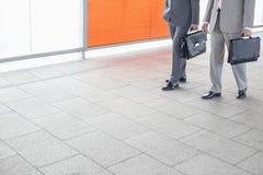 Низкий раздел бизнесменов с портфелем идя в железнодорожную станцию Стоковая Фотография