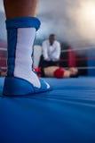 Низкий раздел боксера стоя против рефери спортсменом Стоковое Изображение