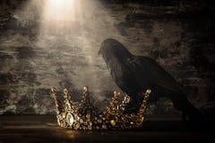 низкое ключевое изображение красивых ферзя/кроны короля и черной вороны период фантазии средневековый Селективный фокус Стоковое фото RF