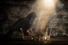 низкое ключевое изображение красивых ферзя/кроны короля и черной вороны период фантазии средневековый Селективный фокус Стоковые Изображения