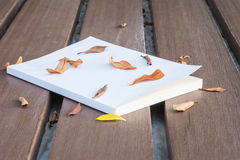 Низкое ключевое фото старой белой книги на деревянном столе с высушенными листьями с темным тоном и выбор фокусируют Стоковые Изображения RF