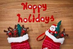 низкопробная картина конструкции цвета рождества socks вода Украшение Xmas, Санта и игрушки оленей Стоковая Фотография RF