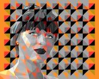 Низко-поли портрет молодой привлекательной женщины бесплатная иллюстрация