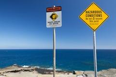 Никакая опасность заплывания не подписывает внутри Гавайские островы Стоковые Фото