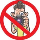 Никакая фотография не позволила знаку с характером фотографа шаржа иллюстрация вектора