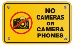 Никакие камеры или камера не знонят по телефону желтому знаку - знаку прямоугольника Стоковое Изображение RF