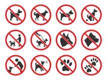 Никакие собаки не подписывают, набор значков запрета собаки иллюстрация вектора