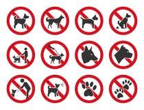 Никакие собаки не позволили, набор знака запрета собаки бесплатная иллюстрация