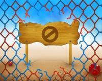 Никакой или позволенный символ на деревянной и сломленной красной и голубой сети Стоковые Изображения RF