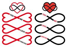 Никогда не кончать влюбленность, красные сердца безграничности, комплект вектора Стоковые Фото