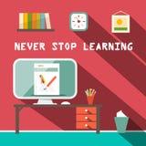 Никогда не останавливайте выучить лозунг Стоковая Фотография RF