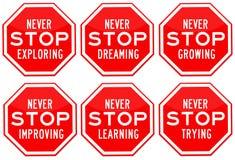 Никогда не останавливайте Стоковое Изображение RF