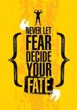 Никогда не позволяйте страху решить вашу судьбу Воодушевляя цитата мотивировки спортзала разминки и фитнеса Творческий столб офор бесплатная иллюстрация