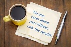 Никто заботит о ваших усилиях, только результатах Стоковое Фото