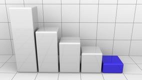 Нисходящая диаграмма с голубым последним баром Концепции спада или кризиса дела перевод 3d Стоковая Фотография RF