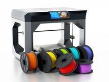 нити принтера 3D около принтера иллюстрация 3d Стоковое Изображение RF