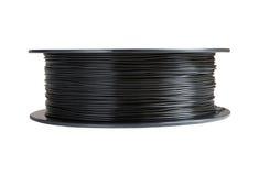 Нить для печатания 3d Черное термопластиковое белизна изолированная предпосылкой Стоковая Фотография