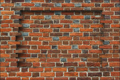 Ниша в стене сделанной от красного кирпича Стоковое фото RF