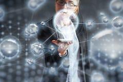 Новаторские технологии в науке и медицине Технология, который нужно соединиться Концепция безопасности стоковые изображения