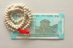 Новая банкнота Индии с деноминацией 50 рупий индийско стоковая фотография rf