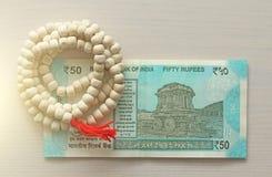 Новая банкнота Индии с деноминацией 50 рупий индийско стоковые изображения rf