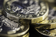Новая Великобритания монетки одного фунта Стоковое Изображение RF