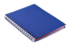 Новая голубая тетрадь с кольцами на белизне Стоковые Изображения