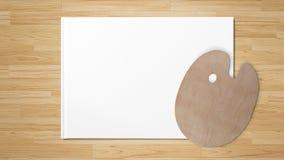 Новая деревянная палитра, изолированная на белой бумаге на деревянном столе стоковое фото rf