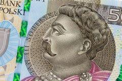 Новая заполированность конец банкноты 500 злотых вверх, фото макроса Стоковое Изображение RF