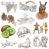 Новая Зеландия Изображения жизни Freehand комплект Colle нарисованное рукой бесплатная иллюстрация