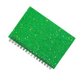 Новая зеленая тетрадь крышки яркого блеска Стоковое фото RF