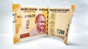 Новая индийская валюта примечаний 200 рупий стоковые изображения
